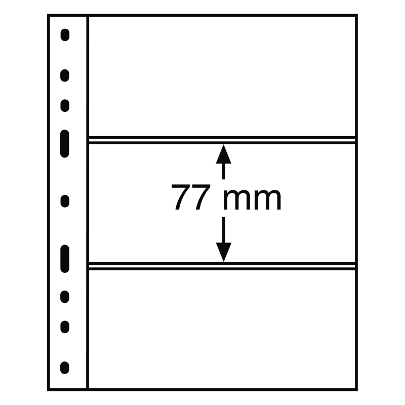Чорний лист OPTIMA LEUCHTTURM на 3 поділки до 180 х 77 мм
