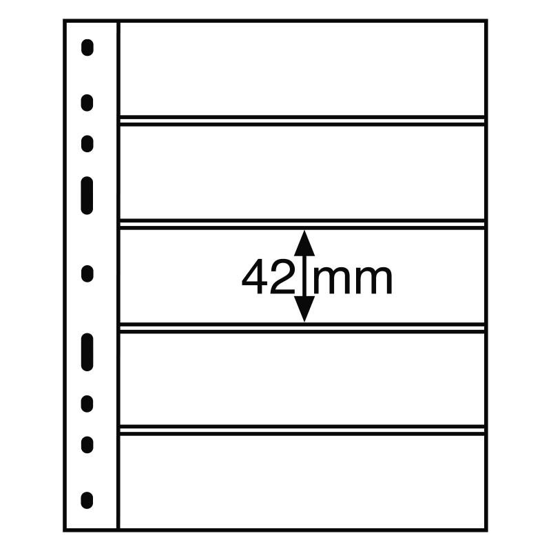 Чорний лист OPTIMA LEUCHTTURM на 5 поділок розміром до 180 х 42 мм