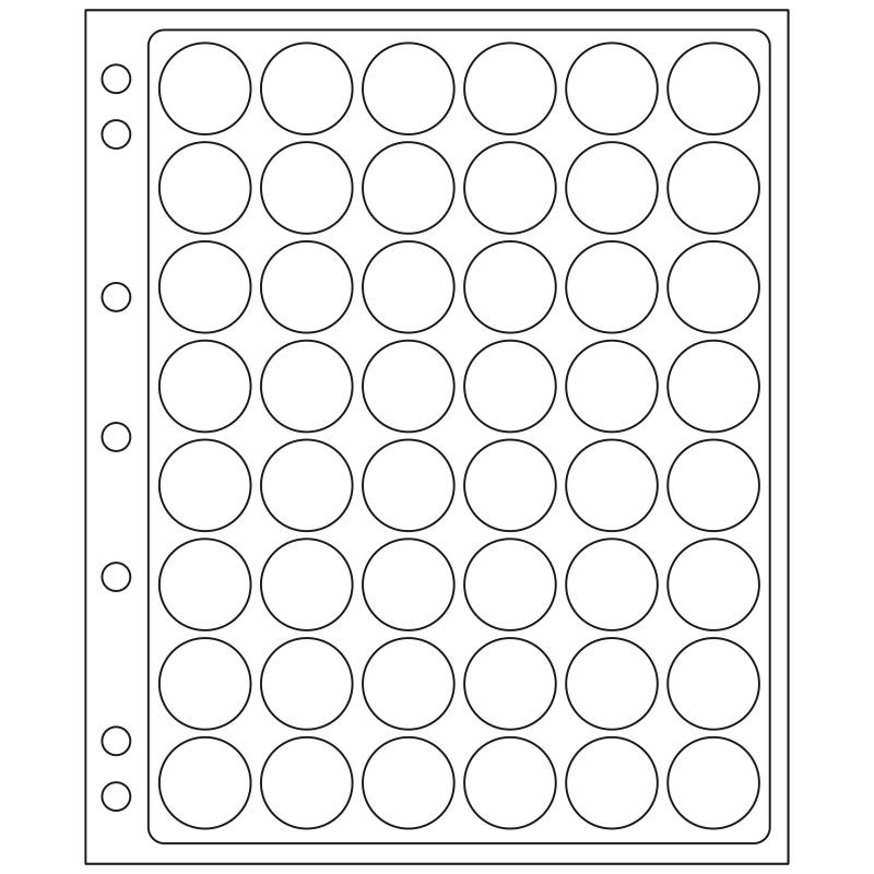 Лист ENCAP LEUCHTTURM для 48 монет диаметром 22/23 мм в капсулах