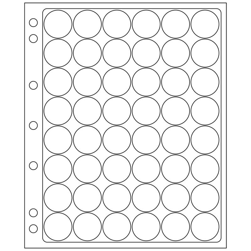 Лист ENCAP LEUCHTTURM для 48 монет диаметром 24/25 мм в капсулах