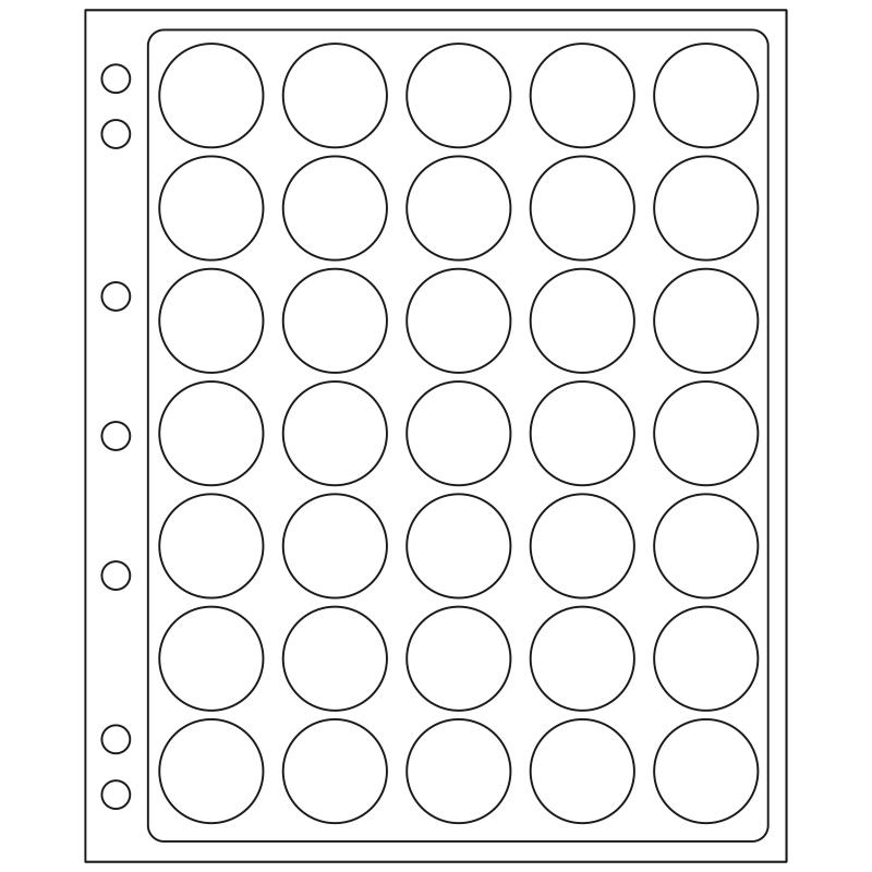Лист ENCAP LEUCHTTURM для 35 монет диаметром 26/27 мм в капсулах