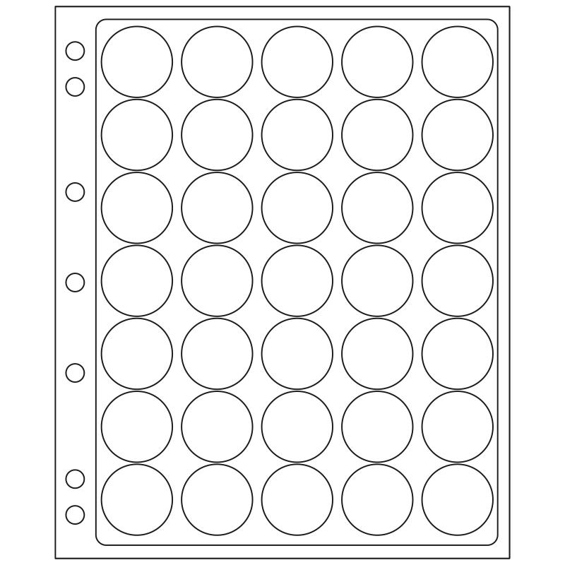 Лист ENCAP LEUCHTTURM для 35 монет диаметром 28/29 мм в капсулах