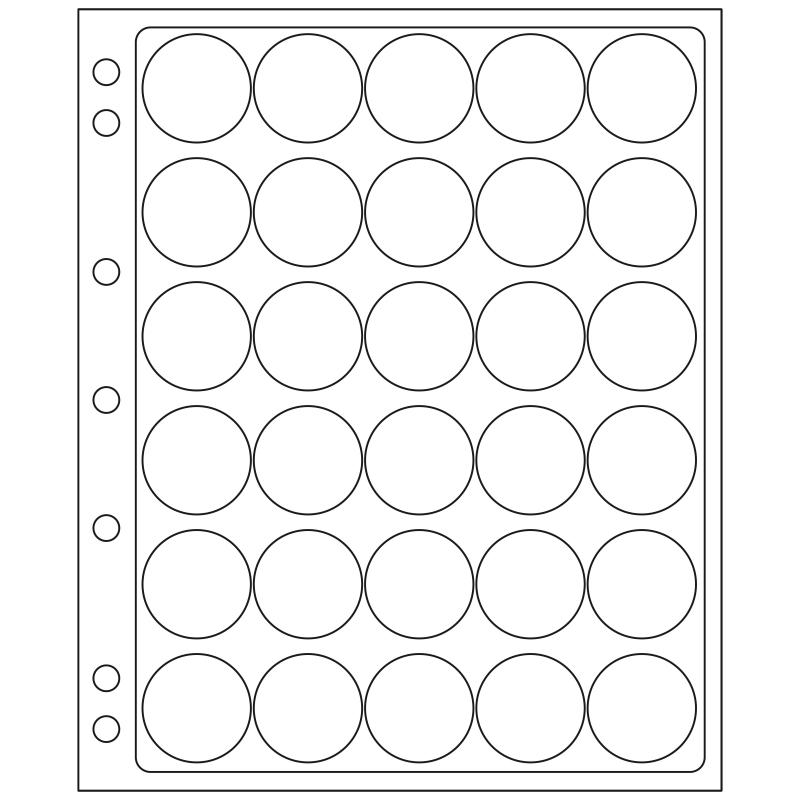 Лист ENCAP LEUCHTTURM для 30 монет диаметром 30/31 мм в капсулах