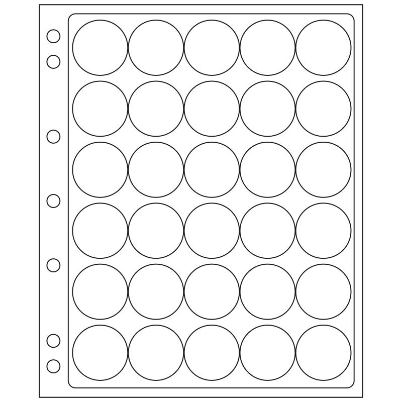 Лист ENCAP LEUCHTTURM для 30 монет диаметром 32/33 мм в капсулах