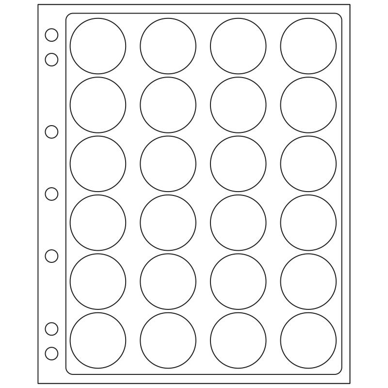Лист ENCAP LEUCHTTURM для 24 монет диаметром 34/35 мм в капсулах