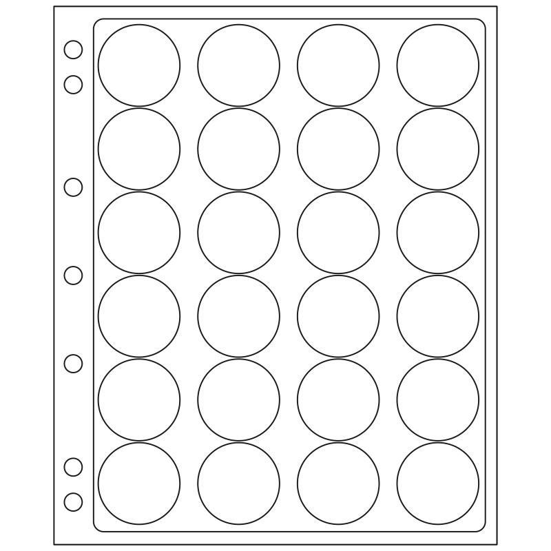 Лист ENCAP LEUCHTTURM для 24 монет диаметром 36/37 мм в капсулах