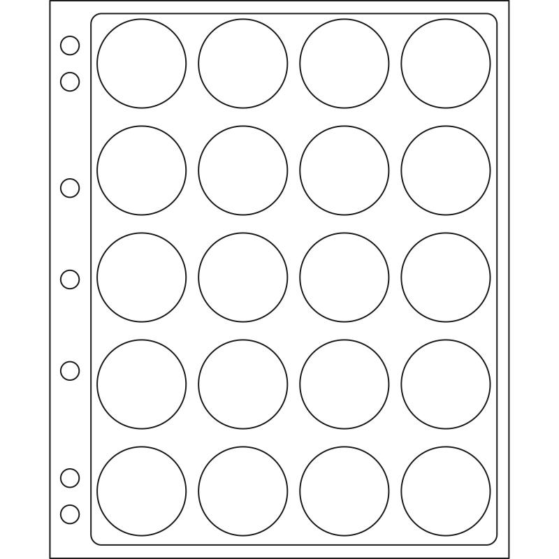 Лист ENCAP LEUCHTTURM для 20 монет диаметром 38/39 мм в капсулах