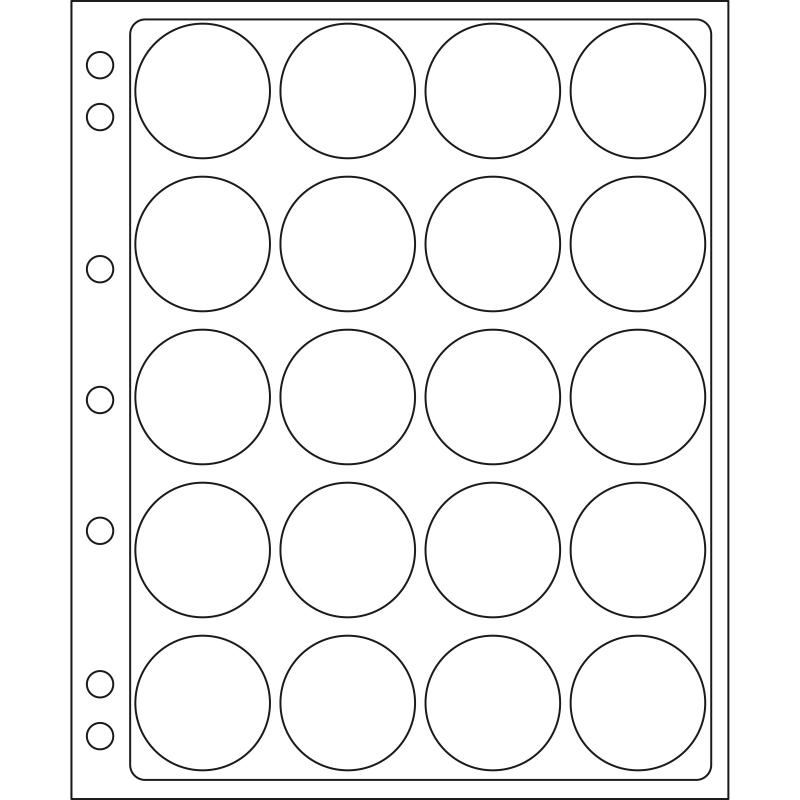 Лист ENCAP LEUCHTTURM для 20 монет діаметром 40/41 мм в капсулах
