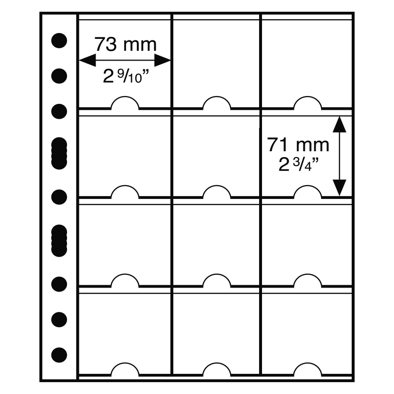 Лист GRANDE LEUCHTTURM для 12 монет в холдерах 67 х 67 мм