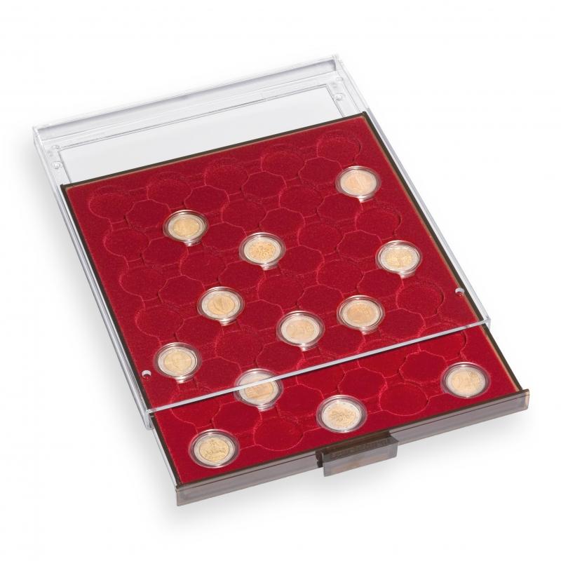 Бокс Leuchtturm для 35 монет в капсулах диаметром до 28 мм