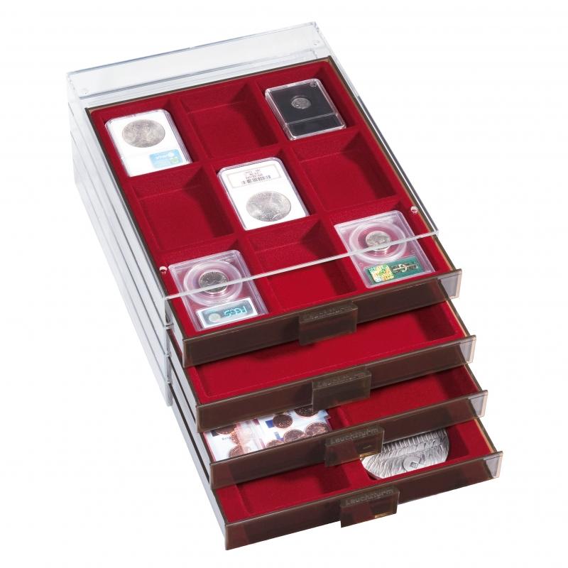 Монетний бокс XL Leuchtturm з комірками, що регулюються