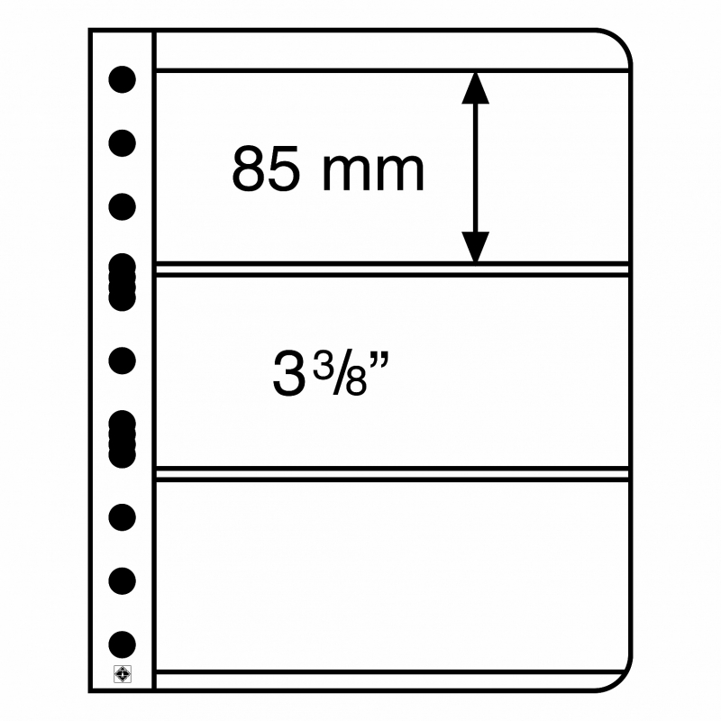 Лист VARIO LEUCHTTURM для 3 банкнот размером до 195 х 85 мм